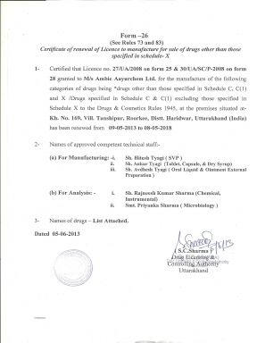 Ambic Ayurchem DL Lic. 1 (Renew) - Altar Pharma